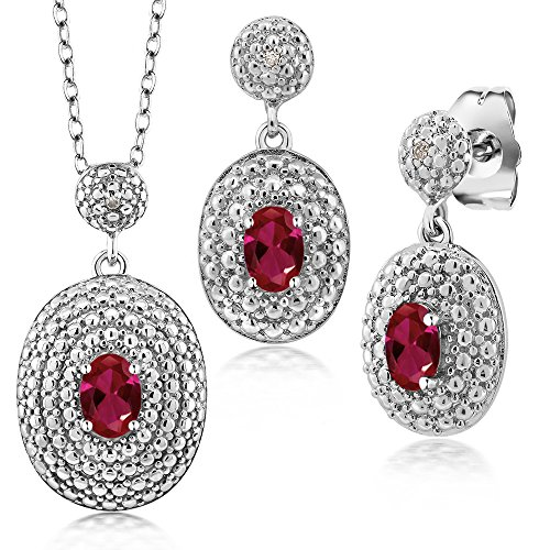 1.52 Ct Oval Red Created Ruby and Diamond Rhodium Plated Pendant Earrings Set
