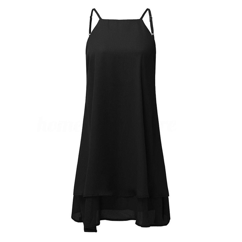 Floral Print Dress,Women Strappy Loose Casual Solid Short Mini Dress Summer Beach Dress Plus,Black, XL