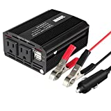 Jevogh 300W Car Power Inverter DC 12V to 110V AC Car Converter with Dual AC Outlets and Dual 2.1A USB Ports, Car Portable Power Socket Adapter-300W