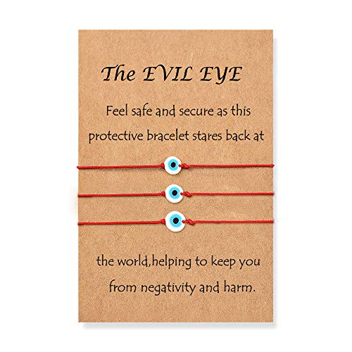 Evil Eye Adjustable Anklets Lucky Red String Ojo Turco Kabbalah Anklets Birthday Gifts Family Women Men Teen Unisex 3 PCS/Set
