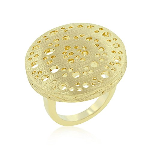 Element Jewelry 14k Gold Plated Brushed Finish Round Ring- Size - Element Ring Jewelry