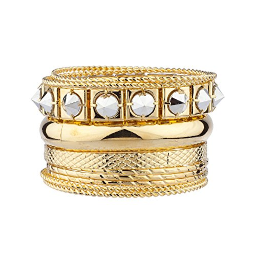 (Lux Accessories Pyramid Spike Textured Mixed Metal Multiple Bangle Bracelet Set)
