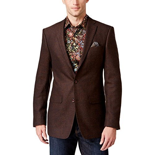 Tallia Mens Tweed Herringbone Sportcoat Brown 42S