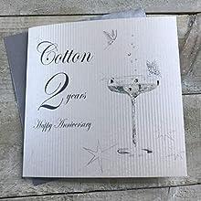 White Cotton Cards bd102 de Cristal de Porcelana con diseño de Feliz Aniversario 'algodón' 2 años Tarjeta de felicitación de Hecho a Mano, Blanco