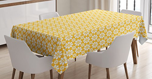 (Floral Tablecloth by Ambesonne, Monochrome Geometric Ornamental Flowers Vintage Daisies Nostalgic Pattern, Dining Room Kitchen Rectangular Table Cover, 60W X 84L Inches, Yellow and White)