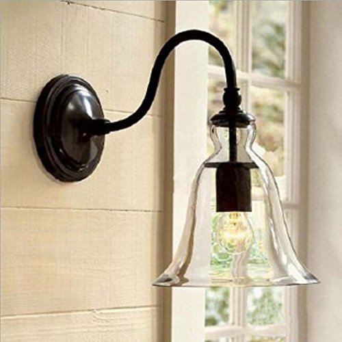 WINSOON Industrial Edison Simplicity Wall Mount Light Sconces Lamp Aged Steel Finished Big Bell Glass Shade (Arm Bell Chandelier Shade)