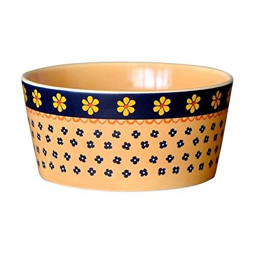 Vintage Japanese Style Ceramic Carved with Floral Motifs Round Rice Bowl Soup Bowl Cereal Bowl Porcelain Assorted Designs Snack Bowl Soup Bowl Dinner Serving Bowl for Fruit/Candy/Salad/Popcorn,Brown