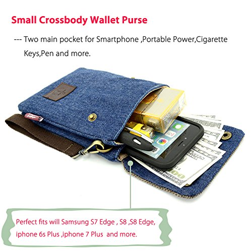 with Note Small Strap Bag Purse Phone Wallet Moto Galaxy Plus iphone Women iphone Crossbody Cell Canvas 6 for Shoulder X 8 J5 Girl 8 Cute Blue Samsung 7 S8 Dark more Mopaclle G4 Plus 6s and EOvnpPqE
