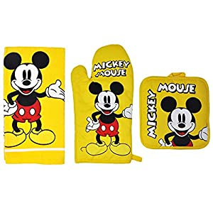 Disney 3pc Kitchen Towel Set Mickey Mouse Yellow