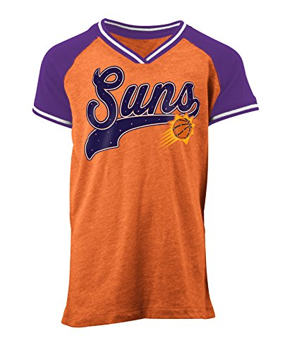 5th & Ocean NBA Phoenix Suns Children Girls Youth Tri Blend Jersey V Neck Short sleeve,L,Tri Natural Orange