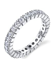 Metal Masters Co.® 3MM Sterling Silver 925 Eternity Ring Engagement Wedding Band Ring With Cubic Zirconia CZ S