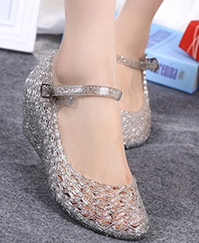 Donalworld Women Round Toe Jelly Glitter Wedge Webbed Plastic Rain Sandals Silver zAqaisB