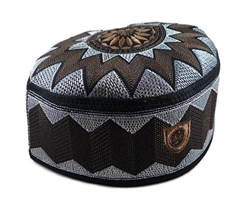 Price comparison product image Alwee ALW006 Muslim Prayer Headware Kufi Hat Men Islam Skull Cap Ramadan Eid Gift (23 inch (58.5 cm.),  Dark Brown)