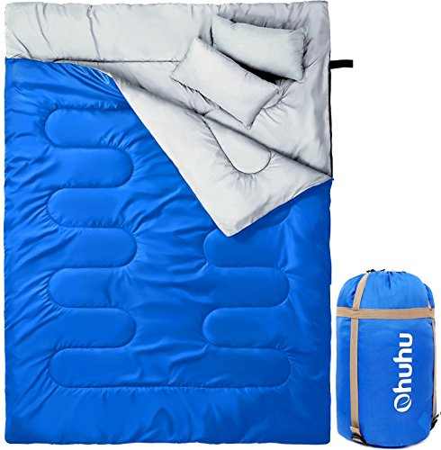 Ohuhu Double Sleeping Bag with 2 Camping Pillows, Waterproof Lightweight 2 Person Adults Sleeping Bag for Camping, Backpacking, Hiking, Bonus Carrying Bag, Black (Blue)