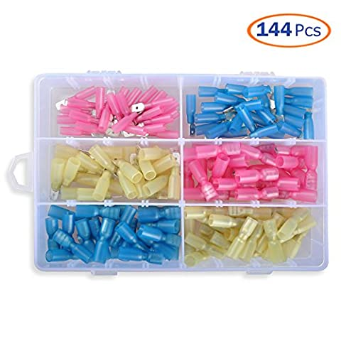 Conwork Male and Female Heat Shrink Spade Terminals Electrical Wire Crimp Connectors Kit, Quick Disconnect Semi Insulated Crimp Terminals Assortment (144Pcs, 6 Size)
