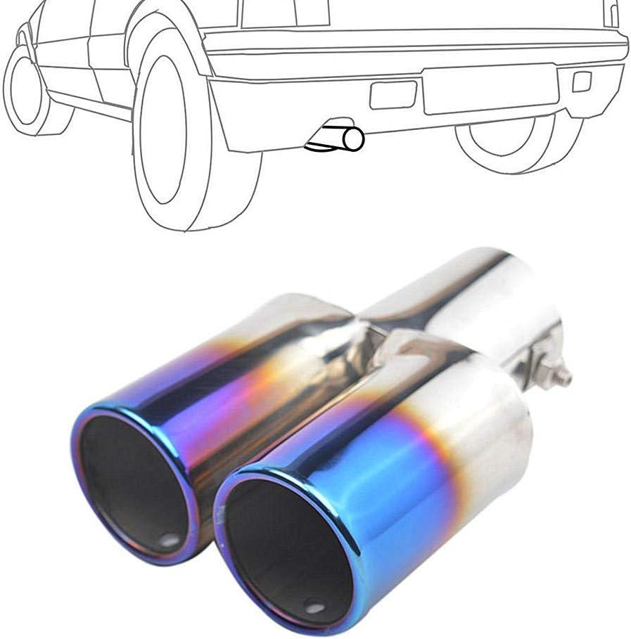 HEELPPO Akrapovic Auspuffblende Auspuffblende Endrohr Auspuff Auspuff Sound Auspuffblende Doppelrohr Auspuffblende Universal Auspuffblende Edelstahl Blue Curved,60mm
