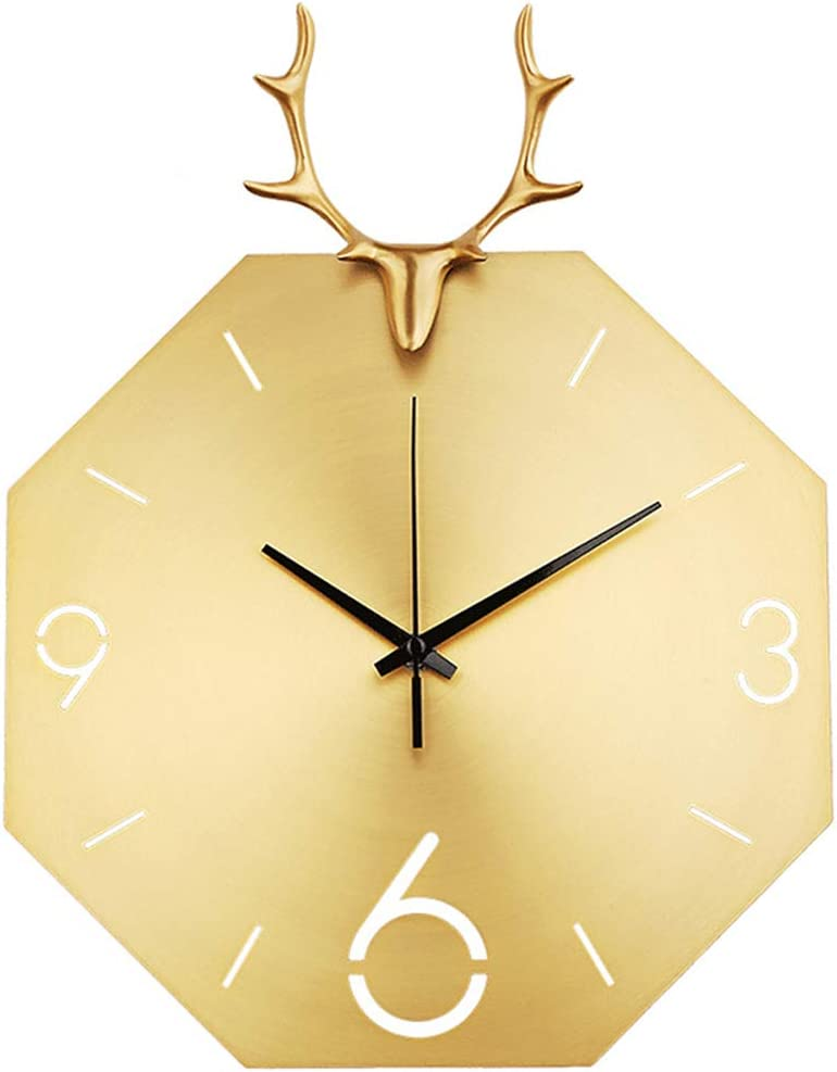 Reloj de Pared Retro de la Vendimia, con Hierro Manos 3D del Color Oro Reloj Pared Grande, Grande Metal de la Vendimia número Romano Antiguo Esqueleto de la Pared de Colgante del Reloj