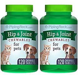 Piping Rock Hip & Joint Chewables for Dogs & Cats 2 Bottles x 120 Tablets