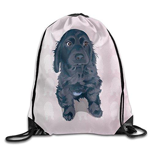 Black Puppy Women Lightweight Drawstring Backpack Gymbag Gymsack String Sackpack Knapsack For Traveling