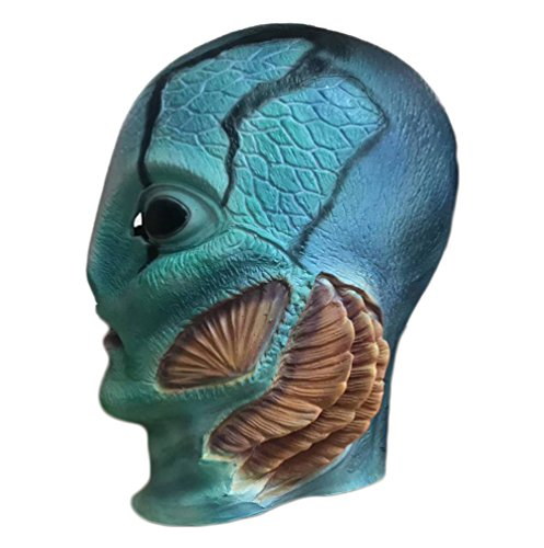 Trippy Lights Shape of Water Female Version Mermaid Movie Full Overhead Latex Cosplay Helmet Mask