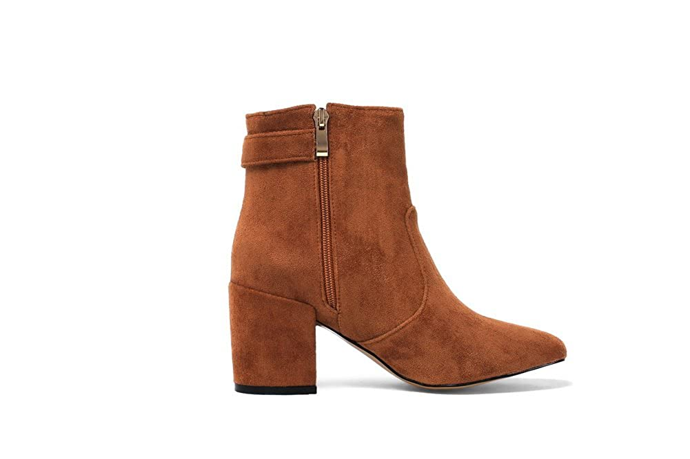 BalaMasa Ankle-High Womens Ankle-High BalaMasa Buttons Zip Pointed-Toe Suede Boots ABL10491 B078WKB7WS Boots 1016d3