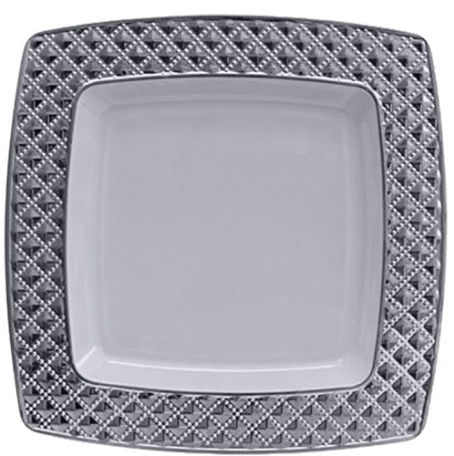 Diamond Collection Elegant China-like Disposable Plates, 7.6