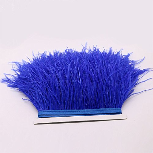 Feather Trim Boa (FQTANJU 2 Yards Soft & Natural Ostrich Feathers Fringe Trims Ribbon Used for Dress, Sewing, Craft clothing, lighting decoration, Clothing DIY, etc. (Royal blue))