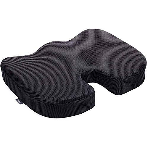 DMI Seat Cushion Pillow for Office Chair - 100% Memory Foam Coccyx Pad - Tailbone, Sciatica, Lower Back Pain Relief - Contoured Posture Corrector for Car, Wheelchair, Computer and Desk Chairs
