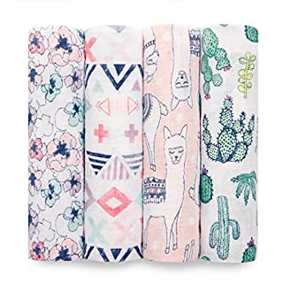aden + anais Swaddle Blanket, Boutique Muslin Blankets for Girls & Boys, Baby Receiving Swaddles, Perfect Shower Gifts, 4 Pack, Trail Blooms