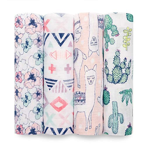 Aden + Anais Classic Swaddle Baby Blanket, 100% Cotton Muslin, Large 47 X 47 inch, 4 Pack, Trail Blooms, Llamas and Cactus
