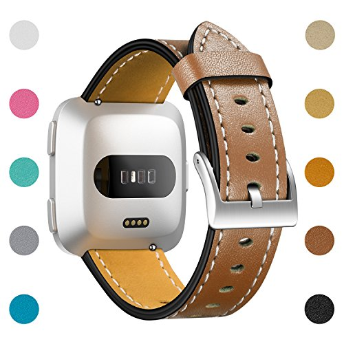 Top Leather Calf (CreateGreat For Fitbit Versa Bands, Classic Vintage Genuine Leather Replacement Accessories Wristbands with Stainless Metal Clasp for Fitbit Versa Smartwatch(Brown))