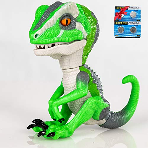 Finger Raptor,Dinosaur Velociraptor BURU,6MODE❤,Dinosaur toys,Electronic Interactive Dinosaur, with Auto-sleep function,Energy saving optimization upgrade. Childrens gift choose☃(Light Green/Whit