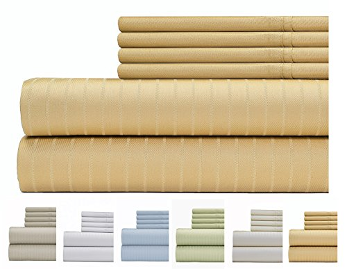 Weavely Sheet Set - 700 Thread Count Cotton-Poly Blend Bed Sheet, Pin Stripe 6 Piece Bedding Set, Hotel Quality Sheet Set with 2 Bonus Pillow Cases, 15 inch Elastic Deep Pocket Fitted Sheet-Queen-Gold