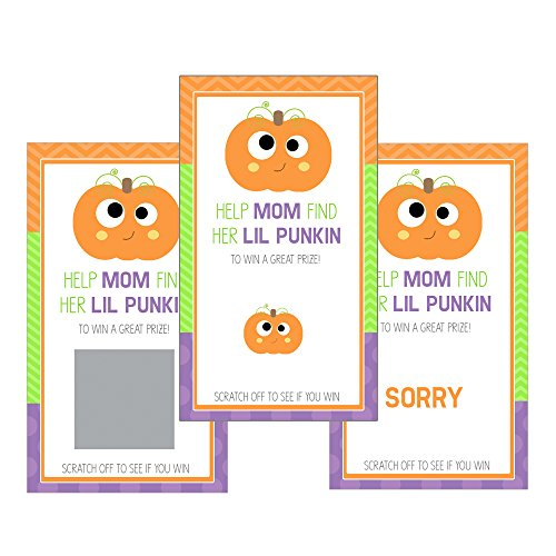 Set of 12 Scratch Off Game Cards for Baby Shower Games with Halloween Little Pumpkin in Purple SCH002