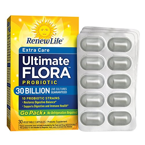 Renew Life Adult Probiotic - Ultimate Flora Probiotic Extra Care Go Pack, Shelf Stable Probiotic Supplement - 30 billion - 30 Vegetable Capsules (Packaging May Vary) ()