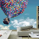 Mznm Large Mural Living Room Children's Bedroom Sofa Backdrop Customized 3D Photo Wallpaper Blue Sky Hot Air Balloon Wall Mural Paper-150X120Cm