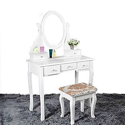 Vanimeu, Vanity Table 5 Drawer Set, with Stool Adjustable Mirror, Makeup Dresser Pine