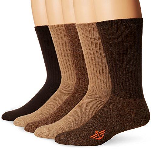 Dockers Men's 5 Pack Cushion Comfort Sport Crew Socks, Khaki Assorted, Shoe Size: 12-15 Size: 13-15