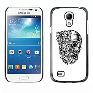 GOODTHINGS (NO PARA S4) Funda Imagen Diseño Carcasa Tapa Trasera Negro Cover Skin Case para Samsung Galaxy S4 Mini i9190 - cráneo floral negro huesos blancos motorista