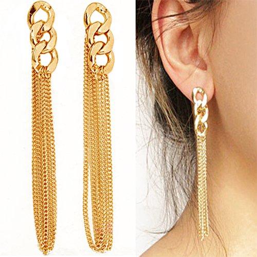 Fashion Celebrity Women Ladies Long Dangle Chain Earrings Golden Tassel Chain Ear Stud