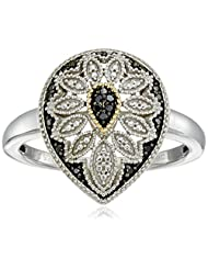 Sterling Silver and 14kt Gold Pear Shape Black or Blue Diamond Art Deco Ring