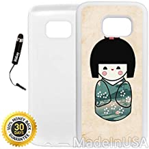 Custom Galaxy S7 EDGE Case (Cute Vintage Traditional Japanese Doll) Edge-to-Edge Rubber White Cover Ultra Slim | Lightweight by Innosub