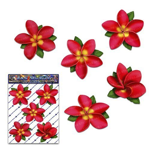 Flower red single frangipani plumeria small pack car stickers decals st00041rd sml jas stickers
