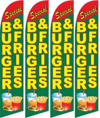 Burger & Fries Feather Banner Flags (Pack of 4)