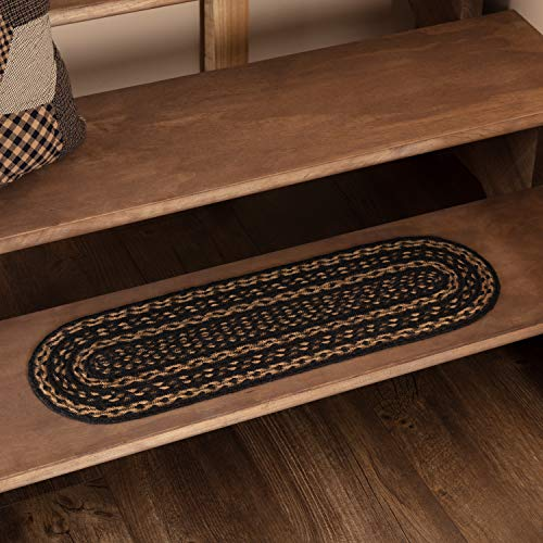 VHC Brands 28143 Classic Country Primitive Flooring-Farmhouse Black Oval Jute, Stair Tread, Non-Stenciled