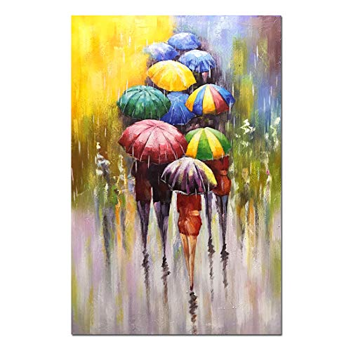- Tiancheng Art 24x36 inch Abstract Canvas Art People with Umbrellas 100% Hand-Painted Oil Painting Wall Art Pieces Framed Canvas Paintings Contemporary Artwork Ready to Hang for Home Decoration Kitche