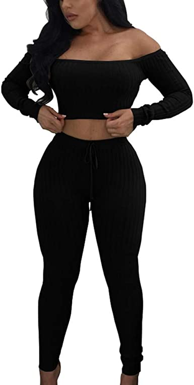 STORTO Womens Casual 2 Pieces Outfits Jumpsuits Off Shoulder Tops Pants Set Bodycon Sweatsuits Tracksuits