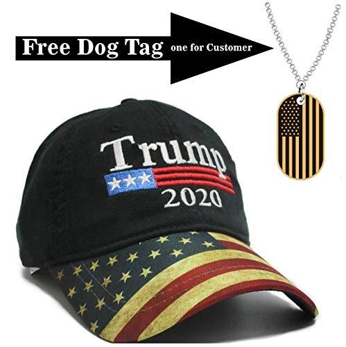 Trump Black Cap US Flag Keep America Great hat President 2020