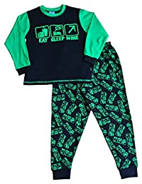 Boy's Eat Sleep Mine Pajamas All Over Print 7 to 14 Years
