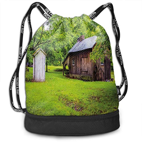 Drawstring Backpack bags, Spring Time Forest Leaves With Outhouse Little Cottage Art Photo ()